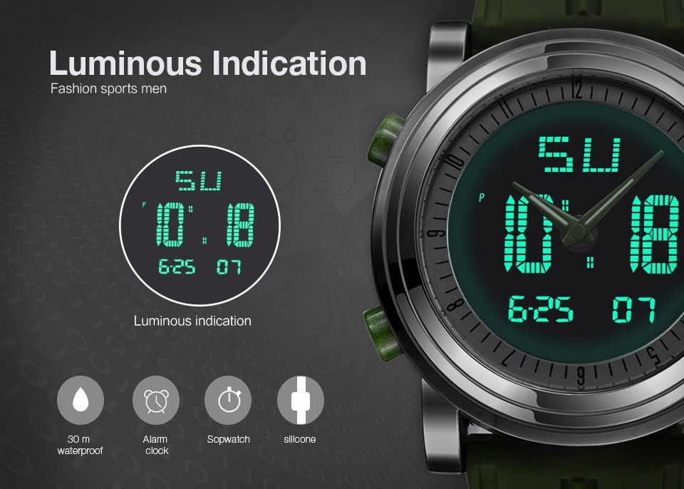 Digitally Analog Military Style Sports Watch