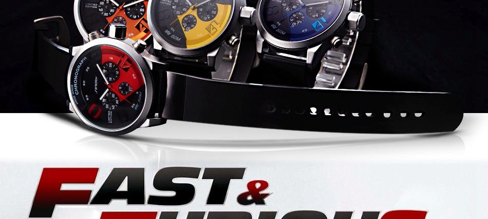 Fast and Furious design Quartz Wristwatch for Men