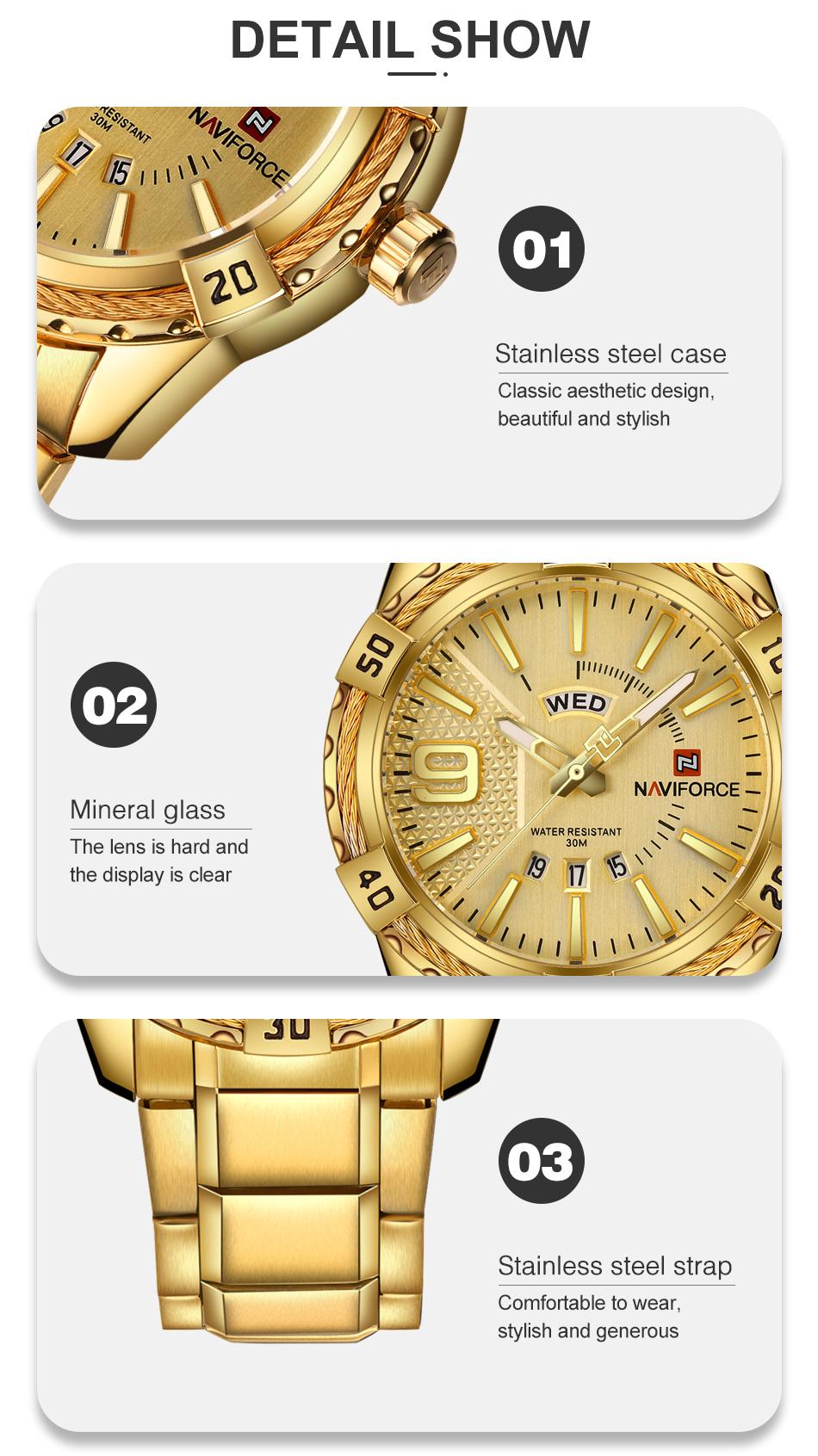 Naviforce Luxury Stainless Steel Quartz Class