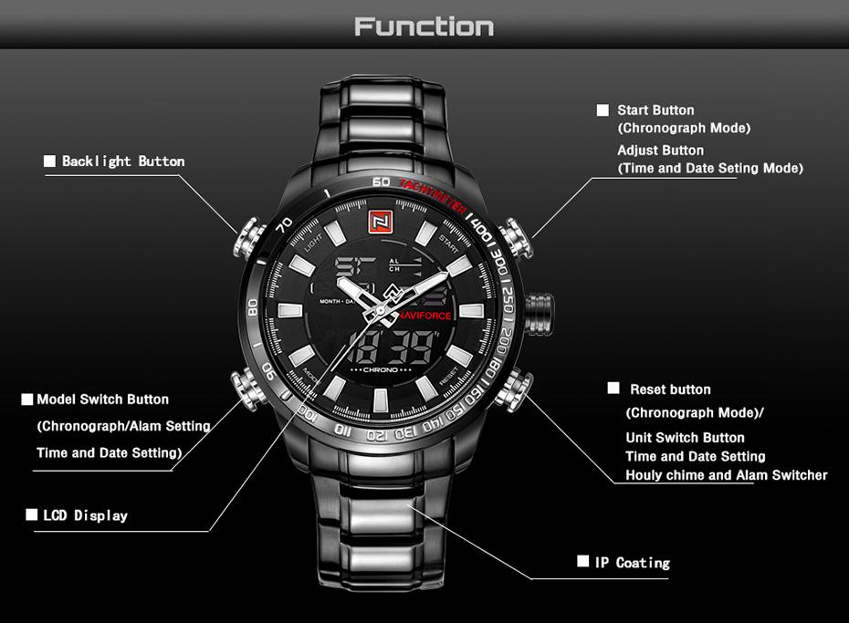 King hood Digital Analog Luxury Watch for Men