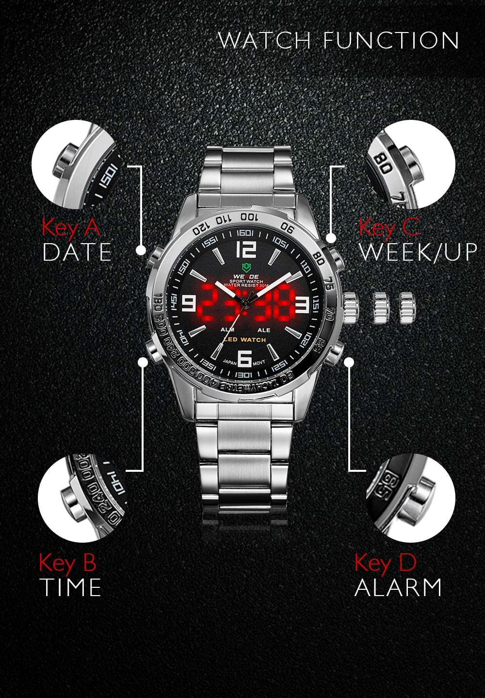 WEIDE Men's Digital Display Business Wristwatch