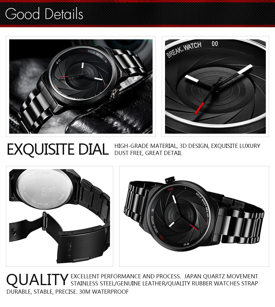 Mission Impossible Tom Cruise Cam Shutter Wrist Watch